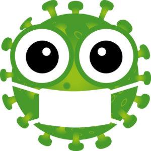 Dibujo coronavirus verde con mascarilla