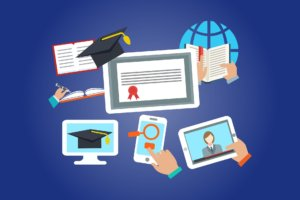 Ilustración con diferentes aparatos de formación online