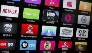 Pantalla con logotipos plataformas de vídeo bajo demanda